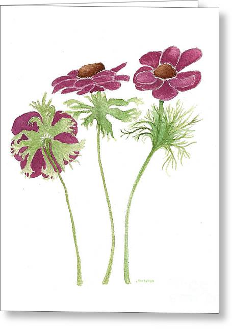 Greeting Card featuring the painting Magenta Wind Flowers by Nan Wright