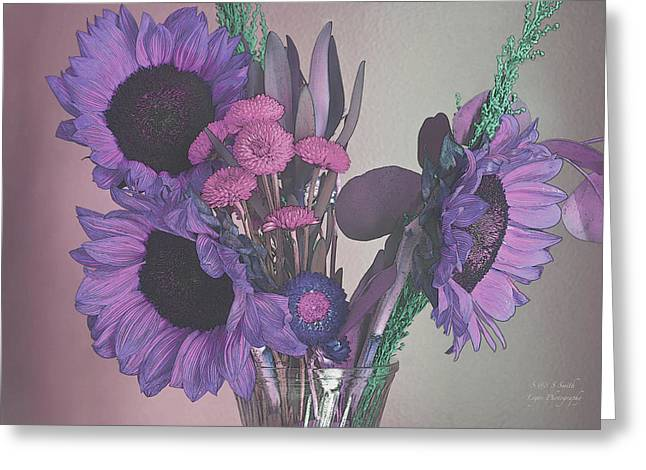Maggies Flowers In Purple Greeting Card by Steve and Sharon Smith