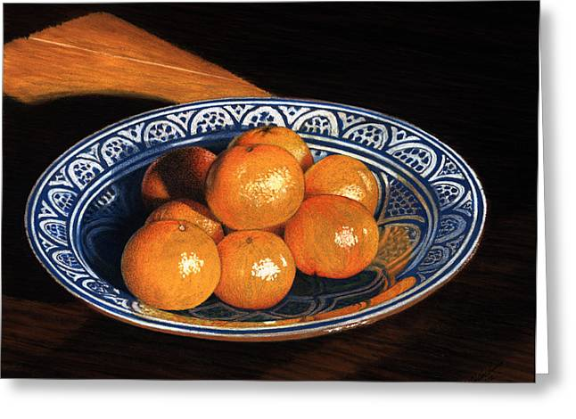 Maggie's Oranges Greeting Card by Norm Holmberg