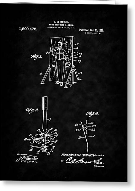 Magic - 1916 Knife Trowing Illusion Patent Greeting Card by Barry Jones