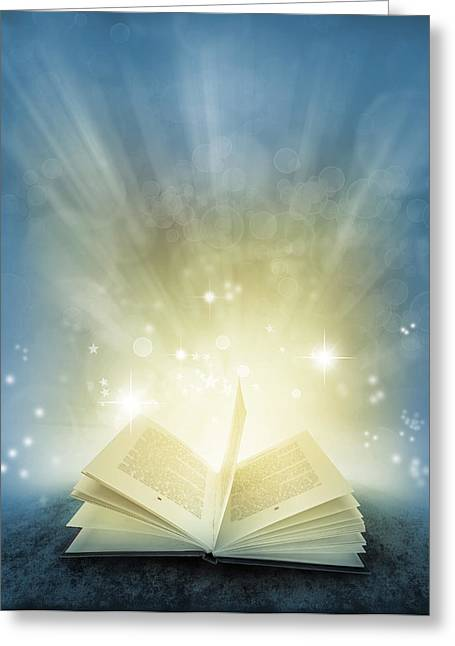 Magic Book Greeting Card by Les Cunliffe
