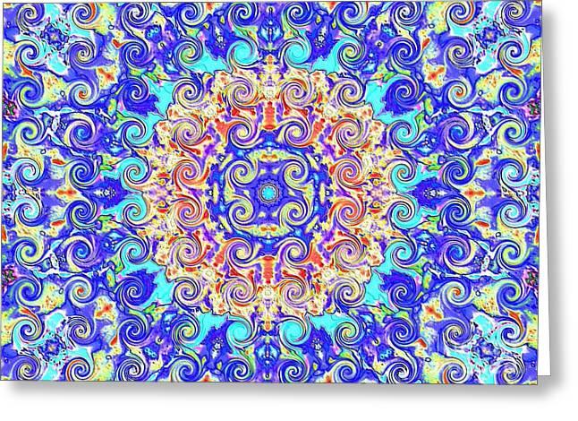 Magic Carpet Ride Blue Greeting Card by Annette Allman