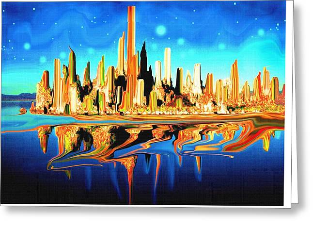 New York Skyline In Blue Orange - Abstract Art Greeting Card by Art America Gallery Peter Potter