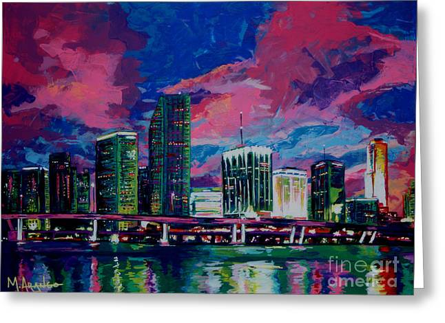 Magic City Greeting Card by Maria Arango