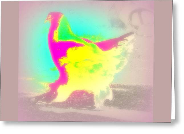 Have You Seen This Magic Hen Walking Down The Lane In The Late Afternoon  Greeting Card by Hilde Widerberg