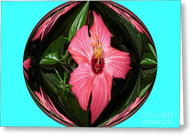 Greeting Card featuring the digital art Magic Hibiscus. Blue by Oksana Semenchenko