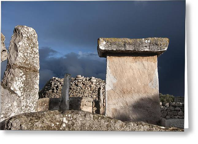 Bronze Edge In Minorca Called Talaiotic Age Unique At World - Magic Island 1 Greeting Card by Pedro Cardona