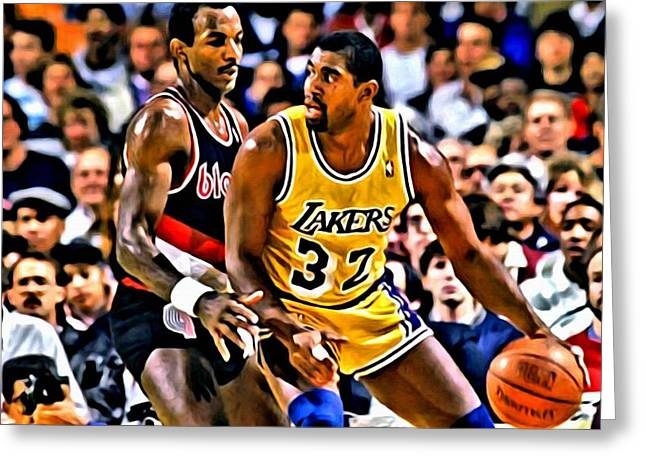 Greeting Card featuring the painting Magic Johnson Vs Clyde Drexler by Florian Rodarte
