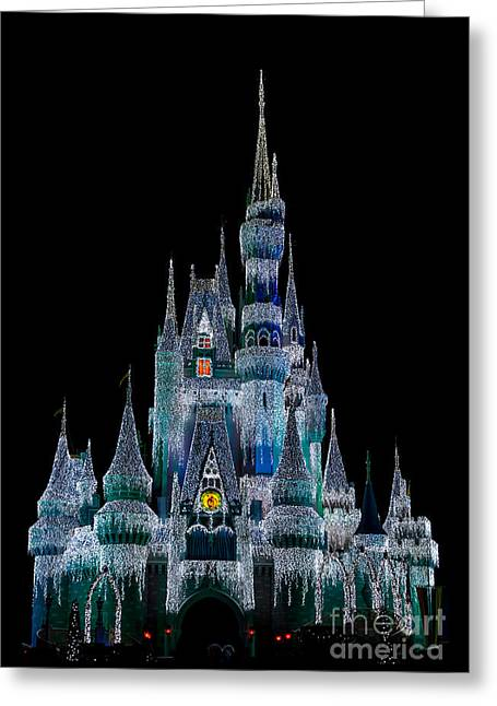 Magic Kingdom Castle Frozen Blue Frost For Christmas Greeting Card