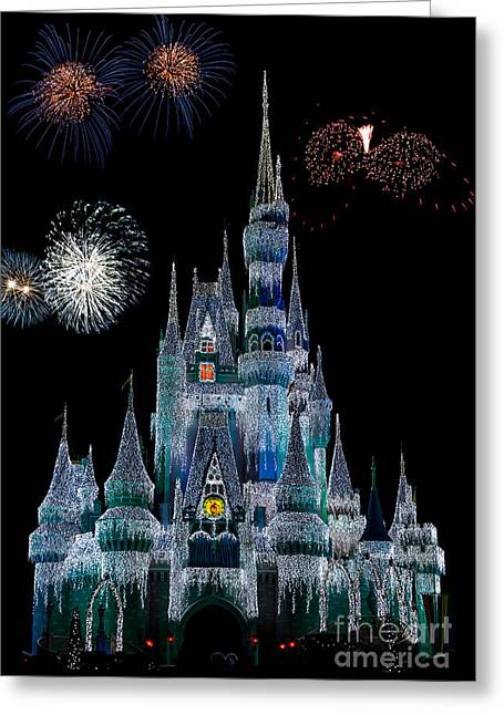 Magic Kingdom Castle Frozen Fireworks Greeting Card
