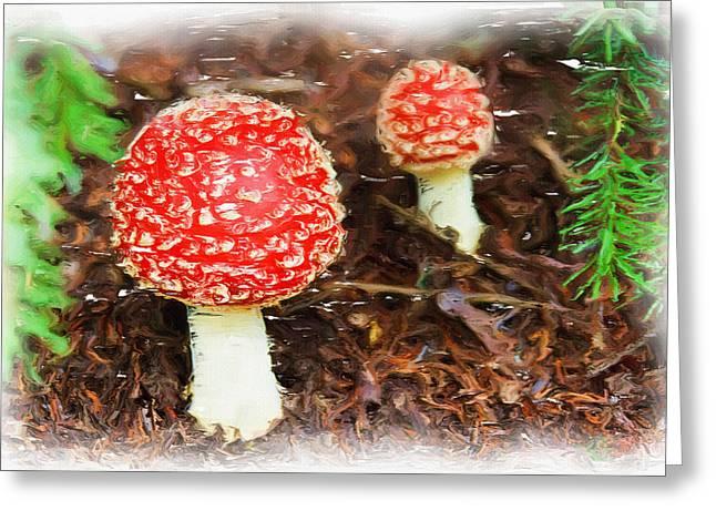 Magic Mushrooms Greeting Card by Ayse Deniz