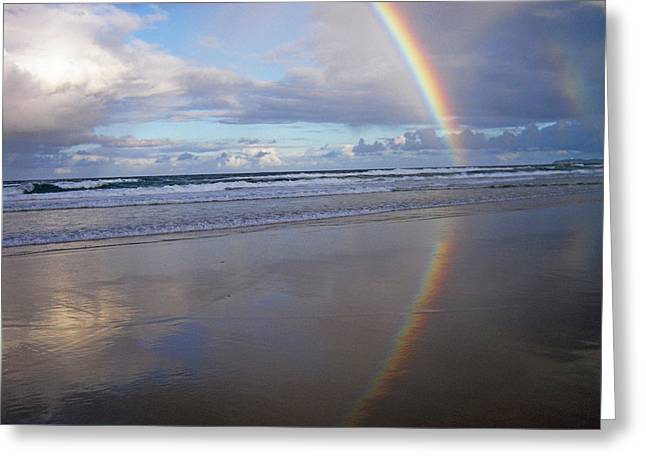 Magic Rainbow Arc Beachscape Greeting Card