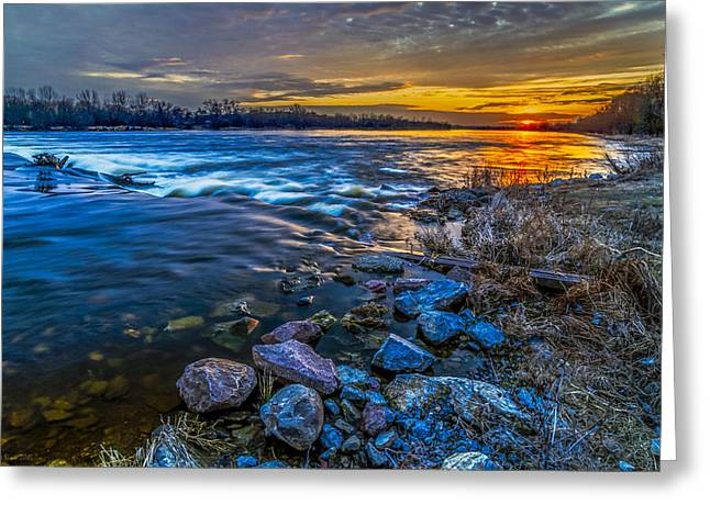 Magic Sunset Over Narew River Greeting Card