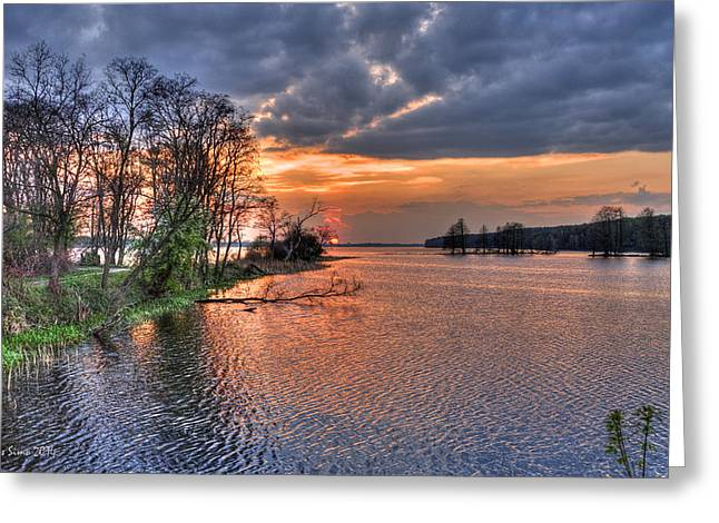 Magic Sunset Over Zegrze Lake Near Warsaw In Poland Greeting Card