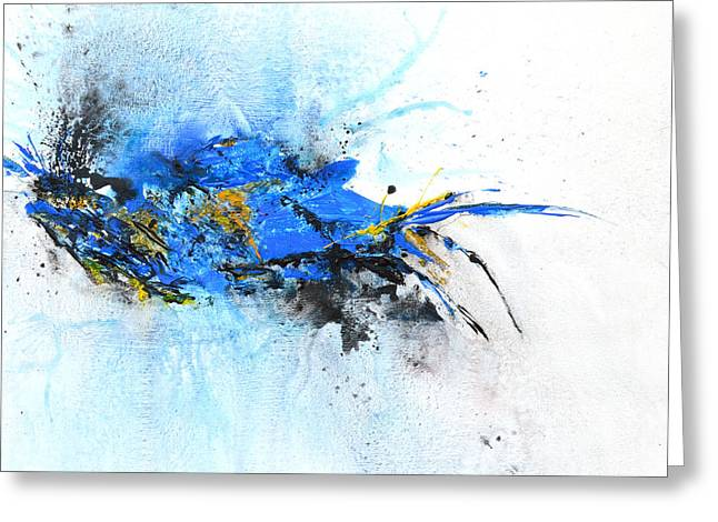 Magical Blue 1- Abstract Art Greeting Card by Ismeta Gruenwald