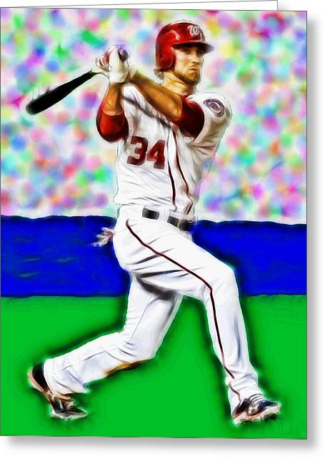 Magical Bryce Harper Connects Greeting Card by Paul Van Scott