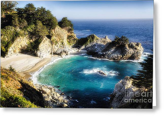 Magical Cove With A Waterfall Greeting Card by George Oze