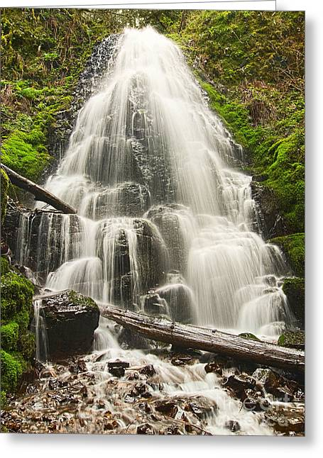 Magical Falls - Fairy Falls In The Columbia River Gorge Area Of Oregon Greeting Card