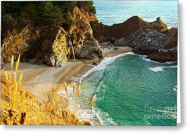 Magical Falls Of Mcway Waterfall At Julia Pfeiffer Burns State Park Greeting Card by Jamie Pham