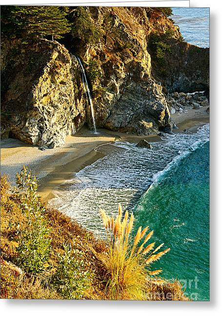 Magical Falls Of Mcway Waterfall At Julia Pfeiffer Burns State Park Near Monterey. Greeting Card by Jamie Pham