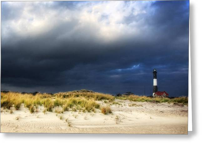 Magical Light At The Lighthouse Greeting Card by Vicki Jauron