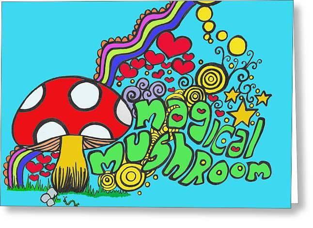 Magical Mushroom Pop Art Greeting Card by Moya Moon