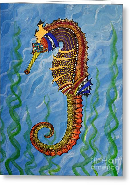 Greeting Card featuring the painting Magical Seahorse by Suzette Kallen