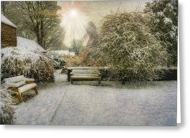 Magical Snowy Garden Greeting Card by Ian Mitchell