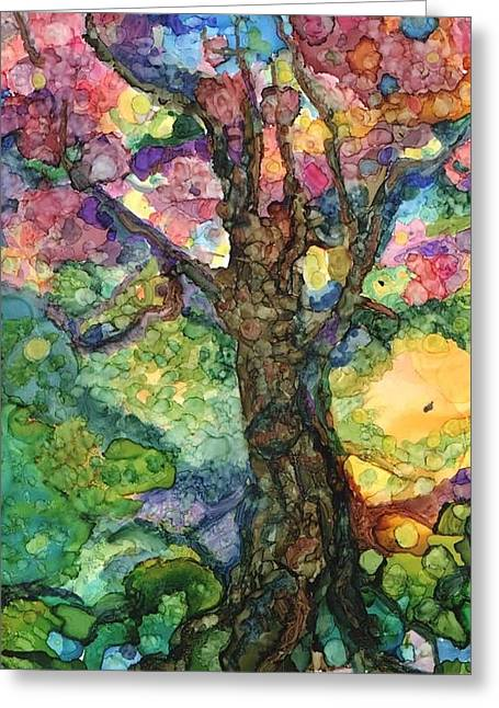 Magical Tree Greeting Card by Lin Deahl
