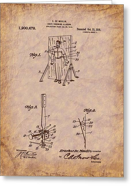 Magician - 1916 Knife Trowing Illusion Patent Greeting Card by Barry Jones