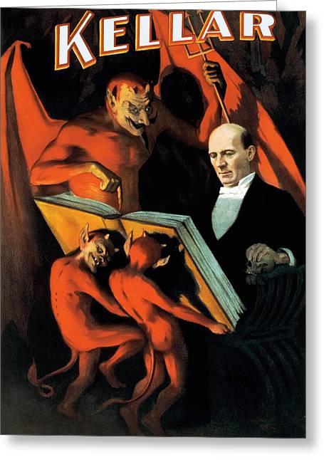 Magician Harry Kellar And Demons  Greeting Card