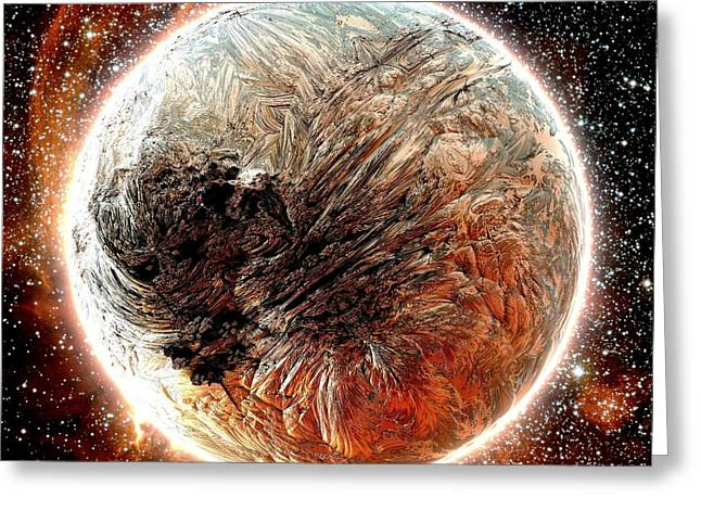 Magma Planet Greeting Card by Bernard MICHEL