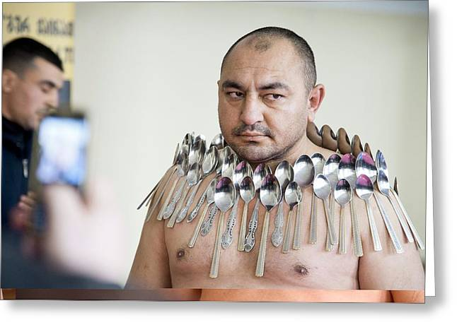 Magnet Man' World Record Attempt, Greeting Card by Science Photo Library