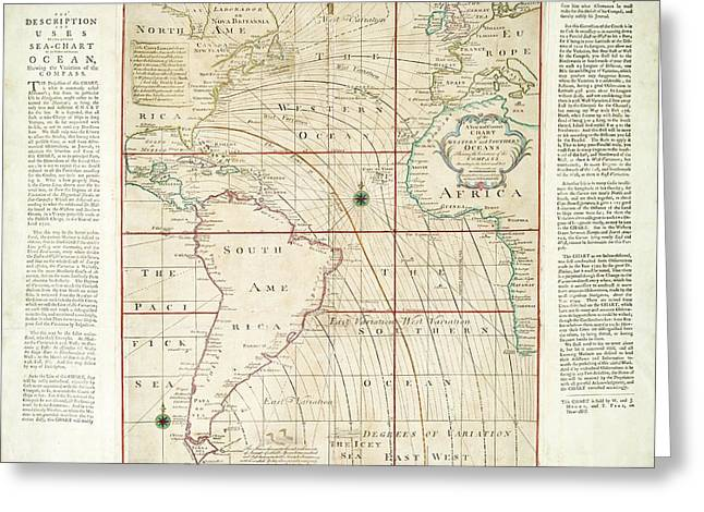 Magnetic Chart Of The Atlantic Greeting Card by Stephen A. Schwarzman Building/the Lionel Pincus And Princess Firyal Map Division/new York Public Library