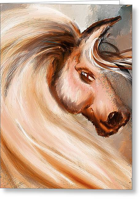Magnificence- Colorful Horse- White And Brown Paintings Greeting Card by Lourry Legarde