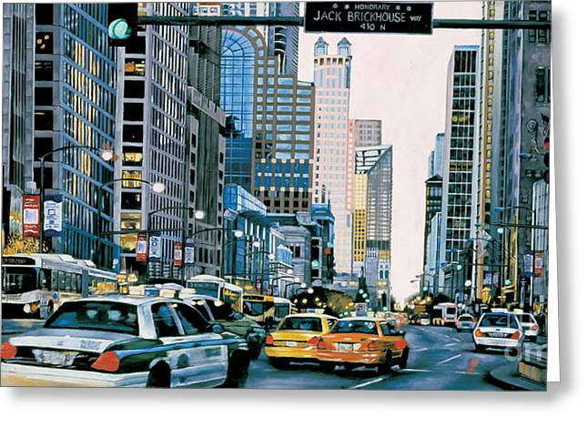 Magnificent Mile Greeting Card by Nancy Vunic