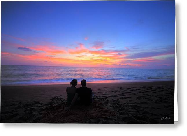 Magnificent Sunset With Couple Greeting Card