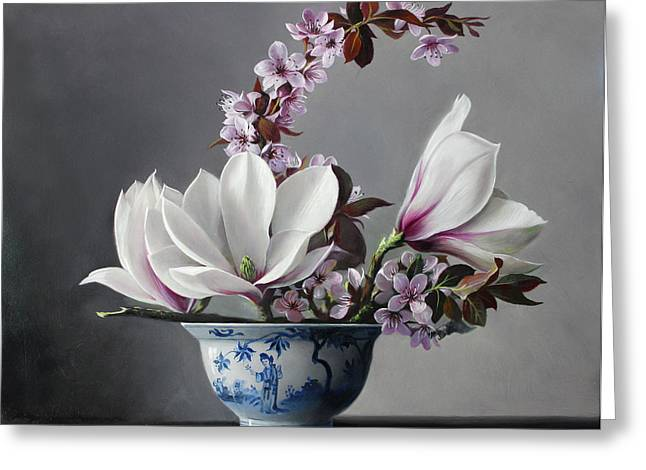 Magnolia And Apple Blossem Greeting Card by Pieter Wagemans