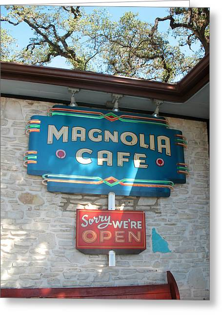 Greeting Card featuring the photograph Magnolia Cafe Sign In Austin by Connie Fox