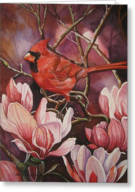 Magnolia Cardinal Greeting Card by Cheryl Borchert