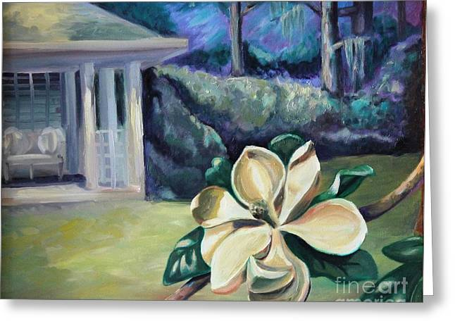 Magnolia In Moonlight Greeting Card by Ellen Howell