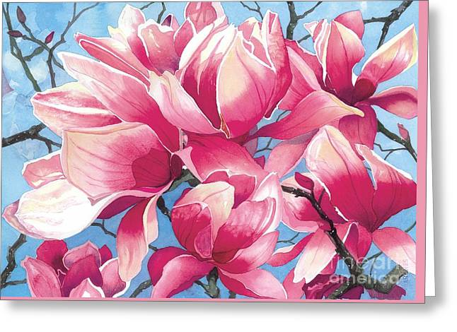 Magnolia Medley Greeting Card by Barbara Jewell