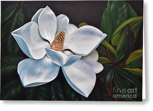 Greeting Card featuring the painting Magnolia by Paula L