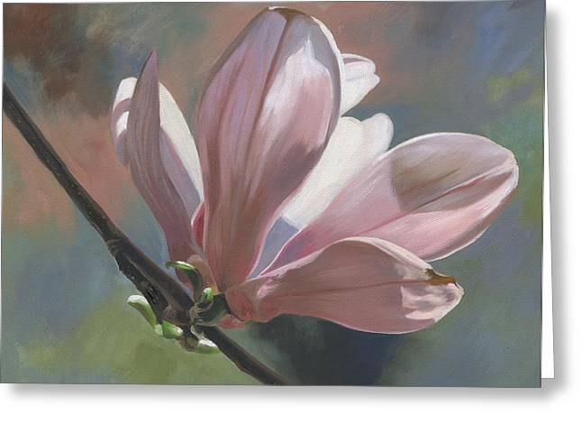 Magnolia Petals Greeting Card by Alecia Underhill