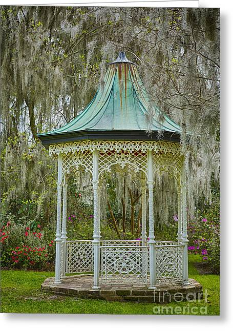 Magnolia Plantation Gazebo Greeting Card by Carrie Cranwill