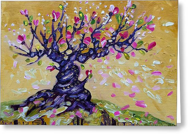 Magnolia Tree Flower Painting Oil On Canvas By Ekaterina Chernova Greeting Card