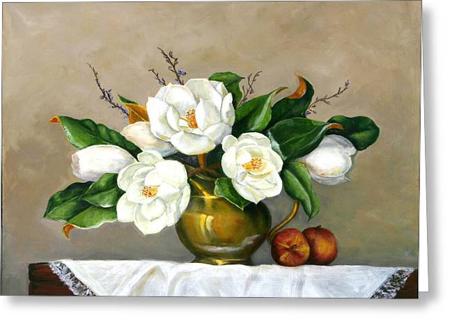 Greeting Card featuring the painting Magnolias - Southern Beauties by Sandra Nardone