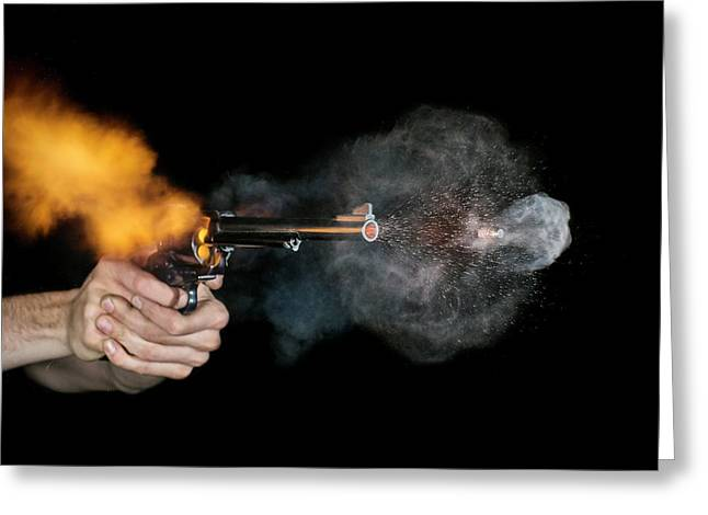 Magnum Revolver Shot Greeting Card by Herra Kuulapaa � Precires