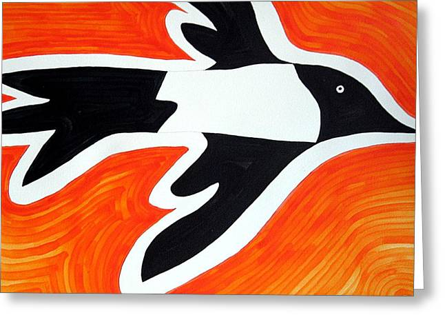 Magpie Original Painting Sold Greeting Card by Sol Luckman