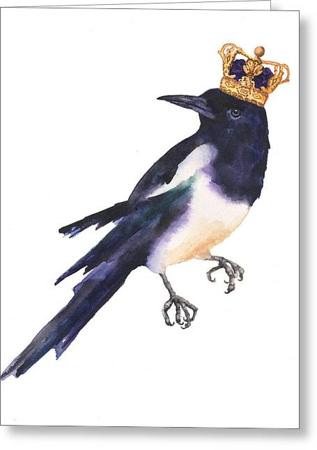 Magpie Watercolor Greeting Card